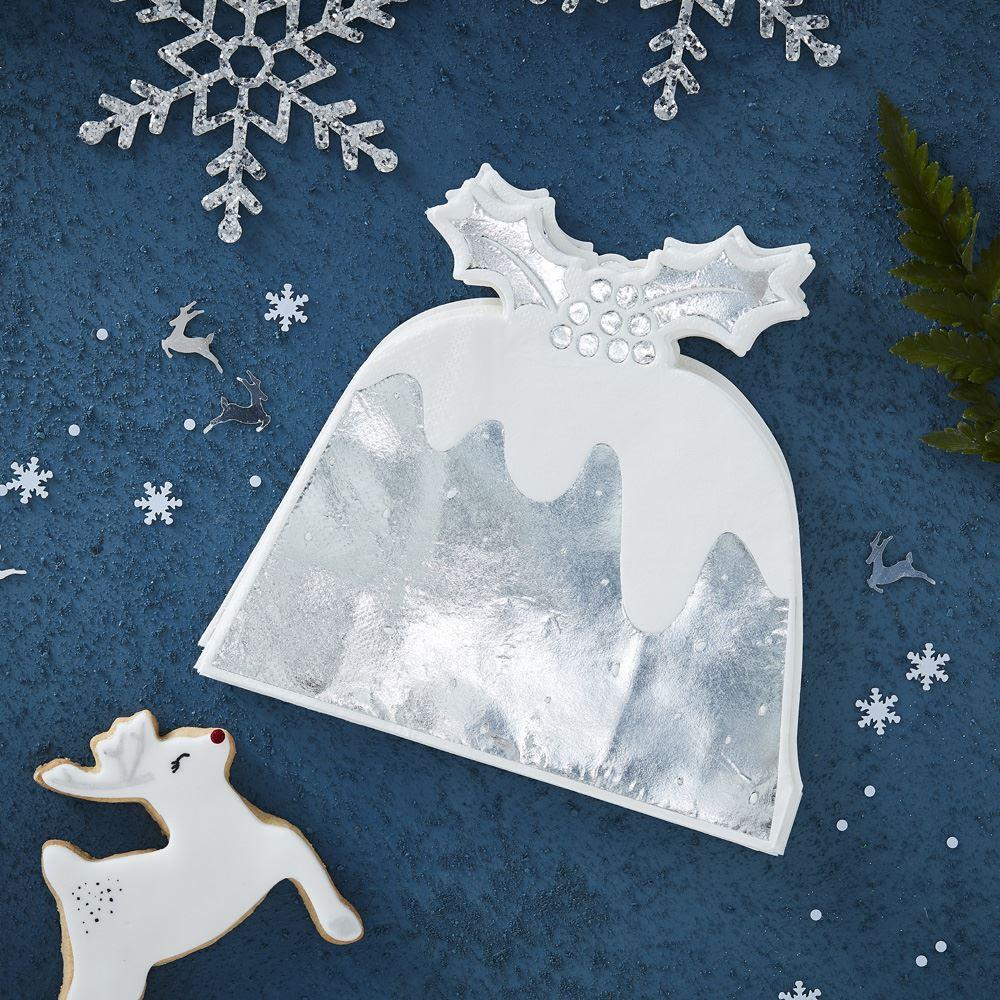 Silver Foiled Christmas Pudding Napkin - 12 Pack Xmas Table