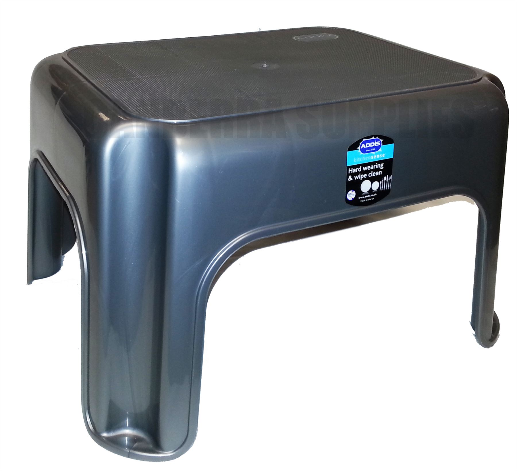 ADDIS KITCHEN GARAGE BATHROOM STEP STOOL HEAVY DUTY PLASTIC - GREY ...