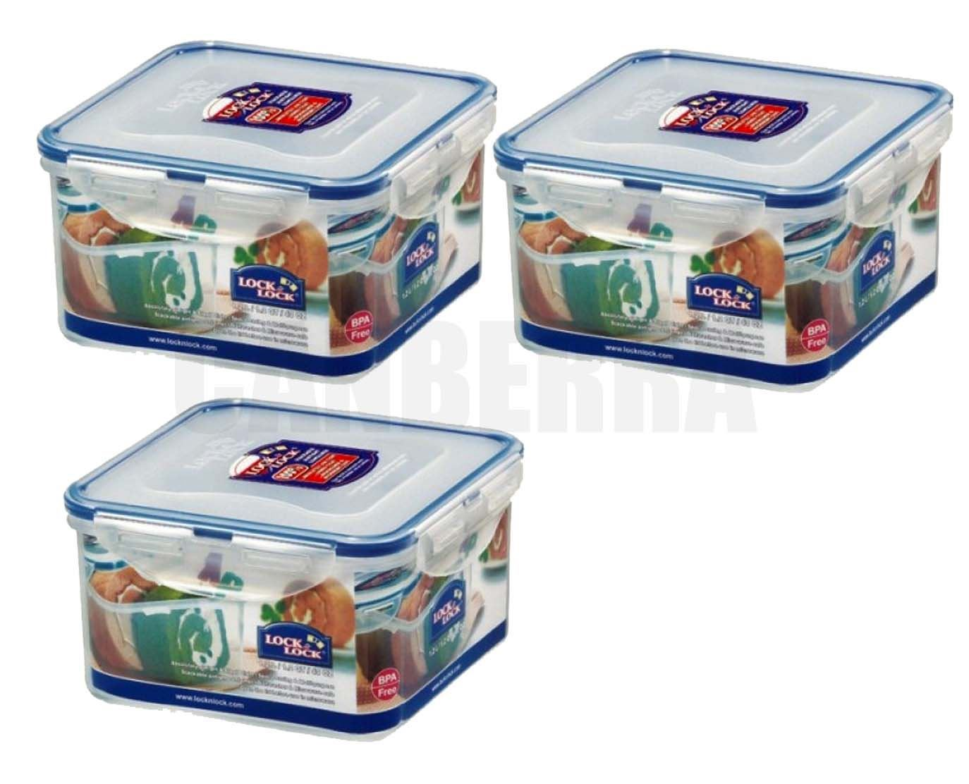 3 x LOCK LOCK SQUARE PLASTIC FOOD STORAGE CONTAINER 12L HPL822D