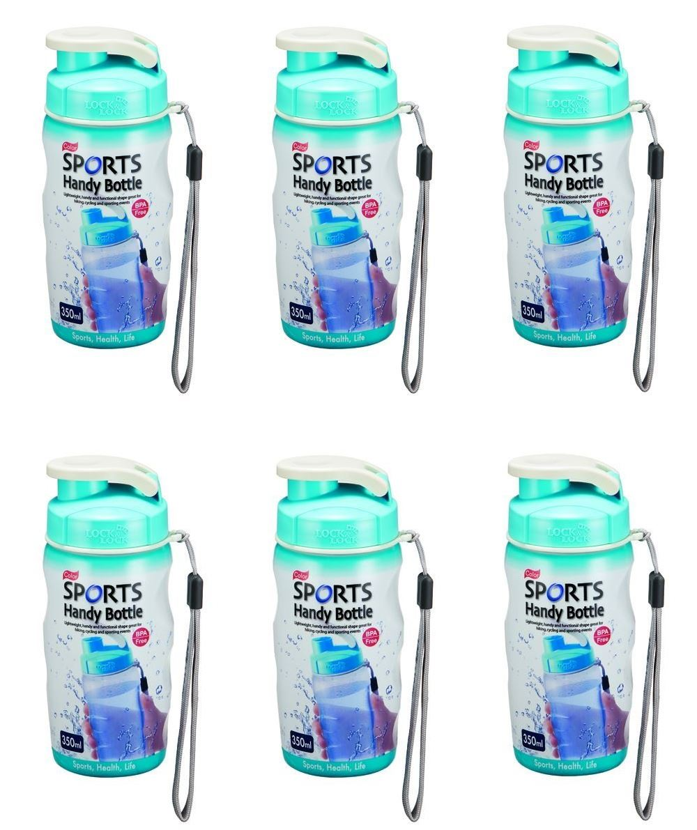 65c9d8ab6a 6 X LOCK AND & LOCK COLOUR GYM SPORTS BOTTLE WITH CARRY STRAP 350ML LIGHT  BLUE