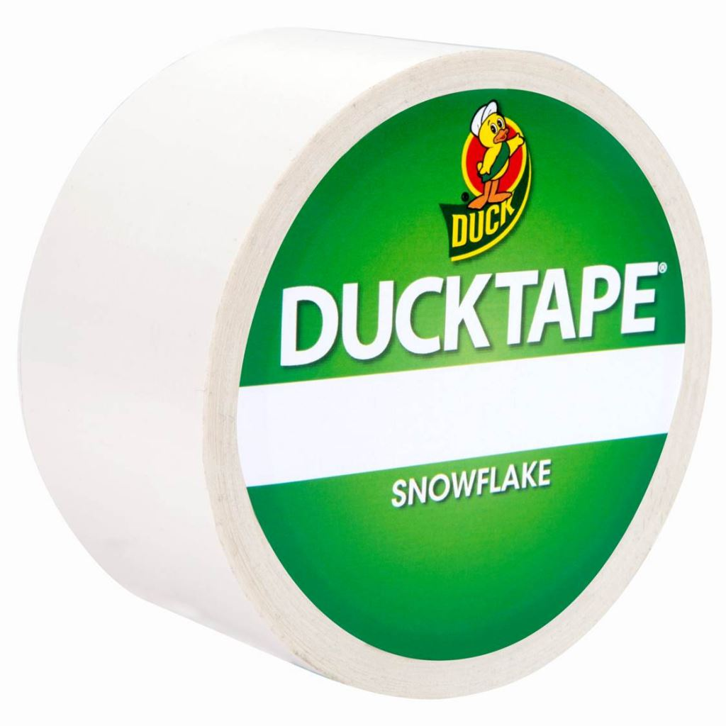 DUCK TAPE COLOURED PATTERNED ART CRAFT TAPE 48MM x 9.1M SNOWFLAKE WHITE