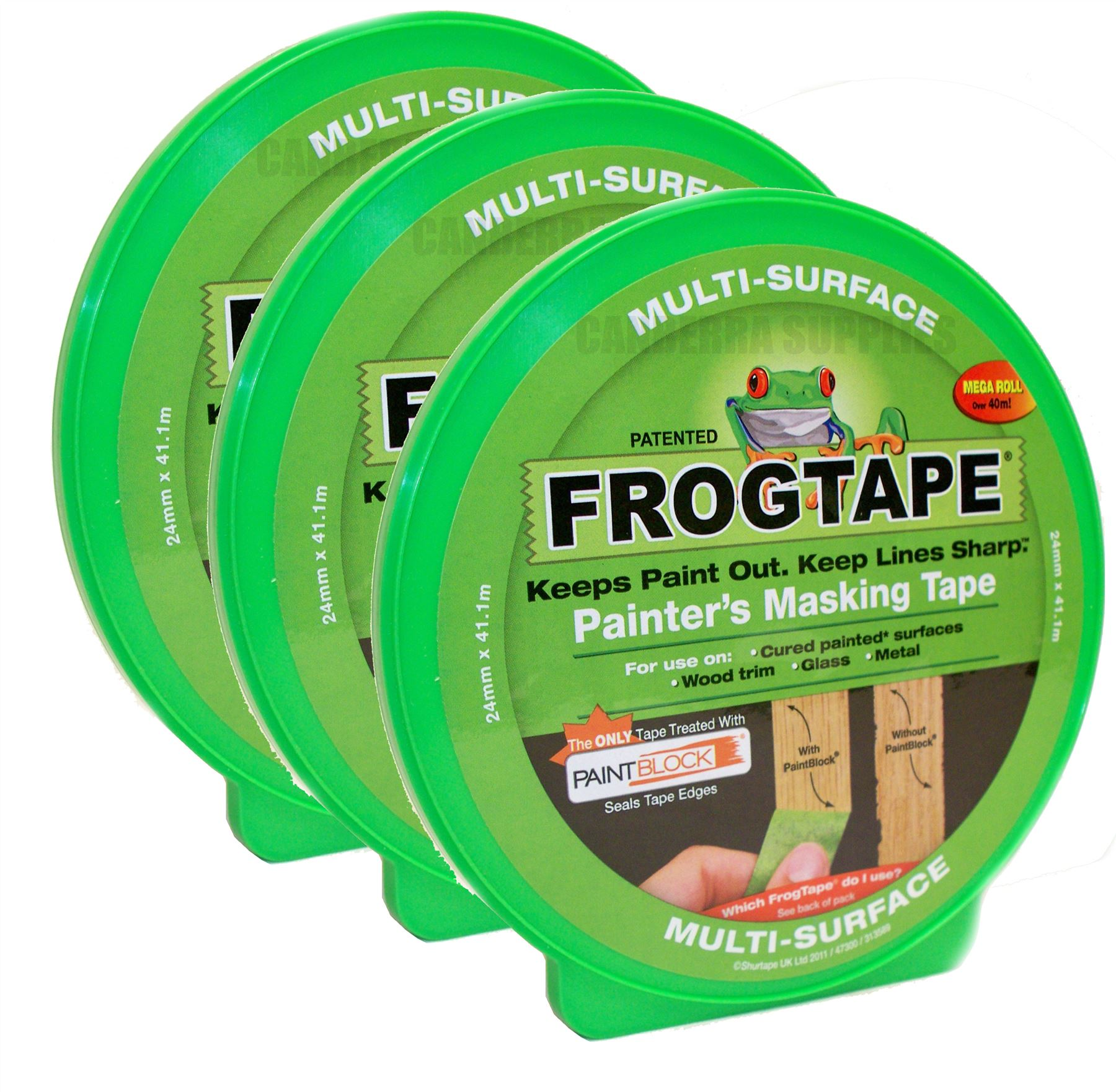 3 x frog tape painters masking tape multi surface - green 24mm x