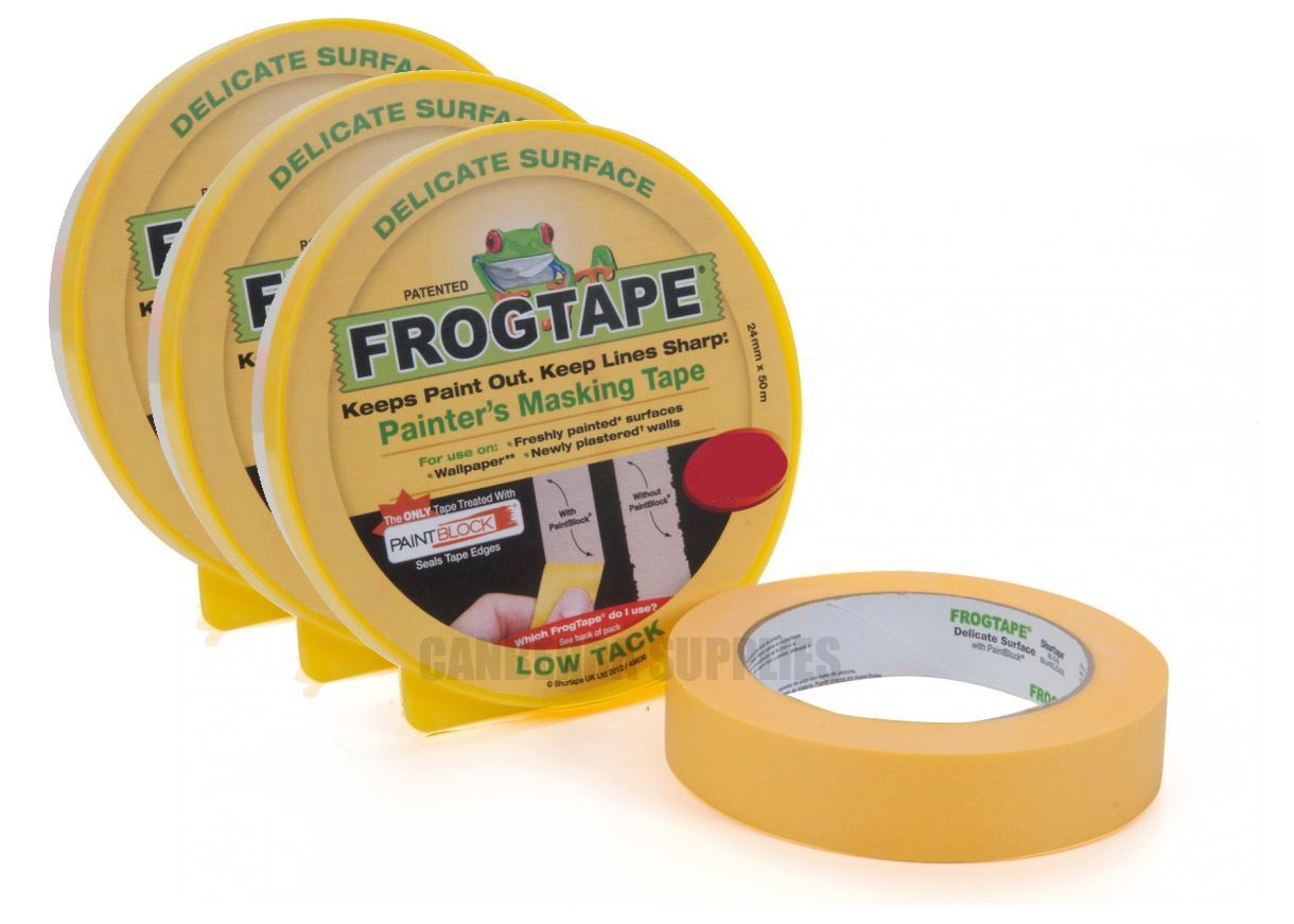 3 x FROG TAPE PAINTERS MASKING TAPE DELICATE SURFACE LOW TACK YELLOW ...