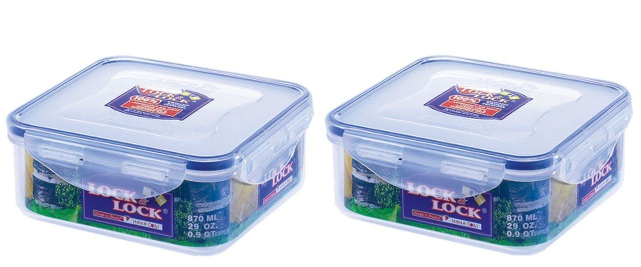ab61a92de6f Details about 2 x LOCK   LOCK PLASTIC SQUARE AIR TIGHT KITCHEN FOOD  CONTAINER 870ML HPL823