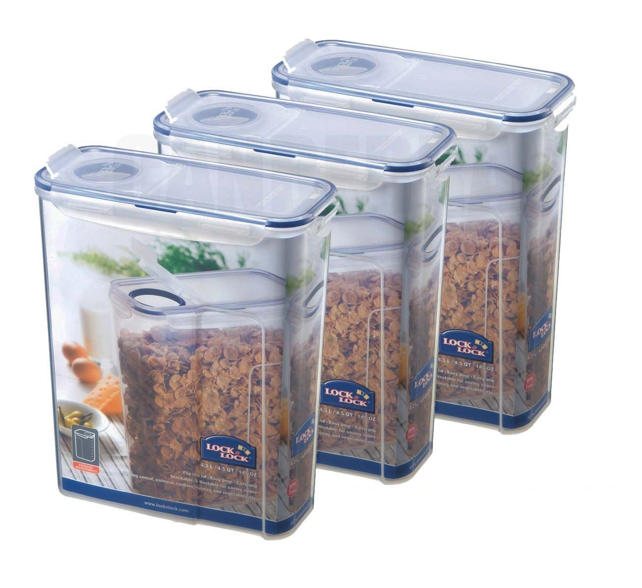 3 x LOCK LOCK CEREAL PASTA FOOD STORAGE CONTAINER 43L HPL714F
