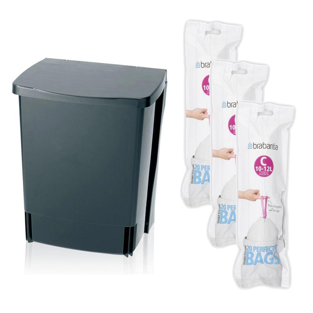 brabantia black kitchen under cupboard waste bin 10l. Black Bedroom Furniture Sets. Home Design Ideas