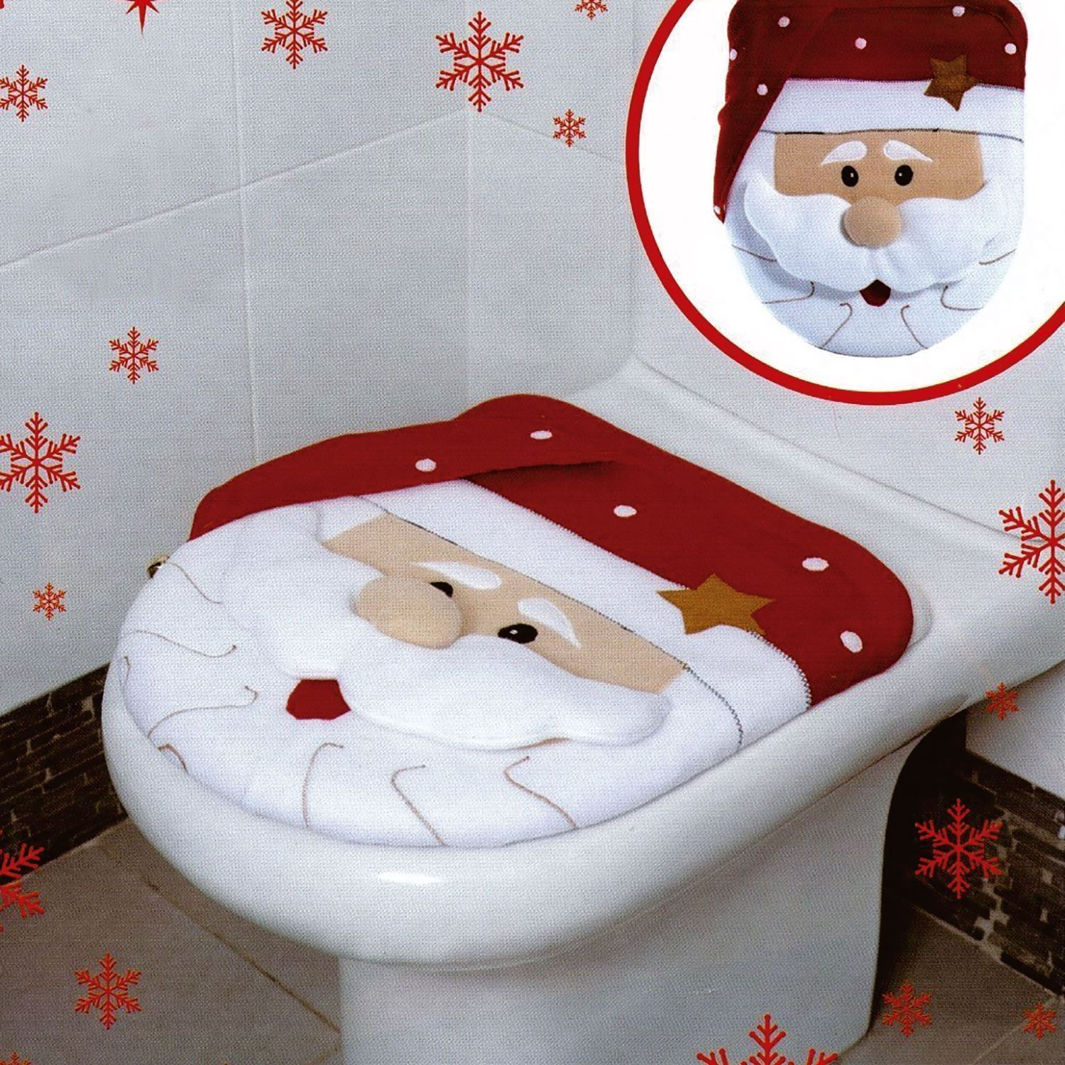 Xmas Decoration Festive Santa Christmas Toilet Seat Cover Set Bathroom