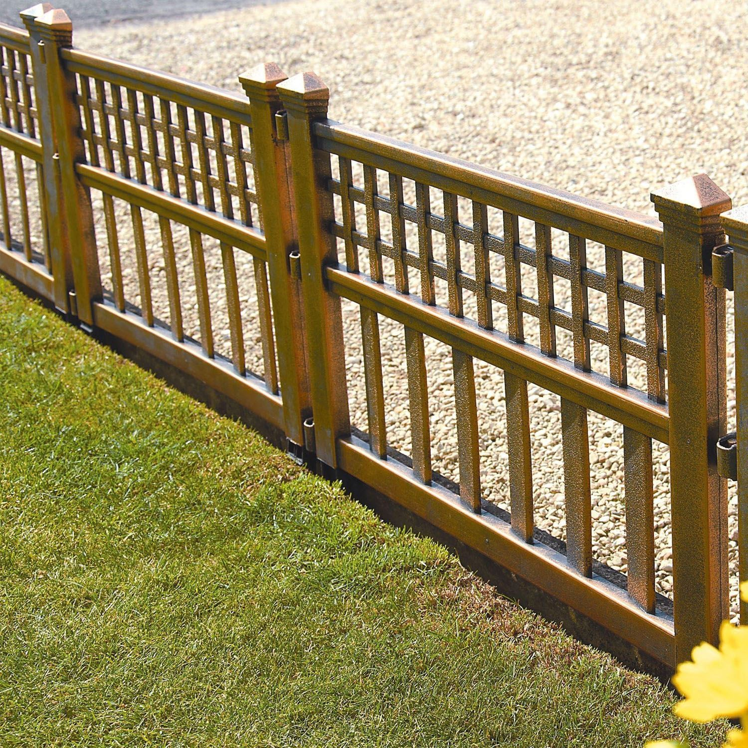 Pack of 4 Bronze Plastic Fence Panels Garden Lawn Edging Plant ...