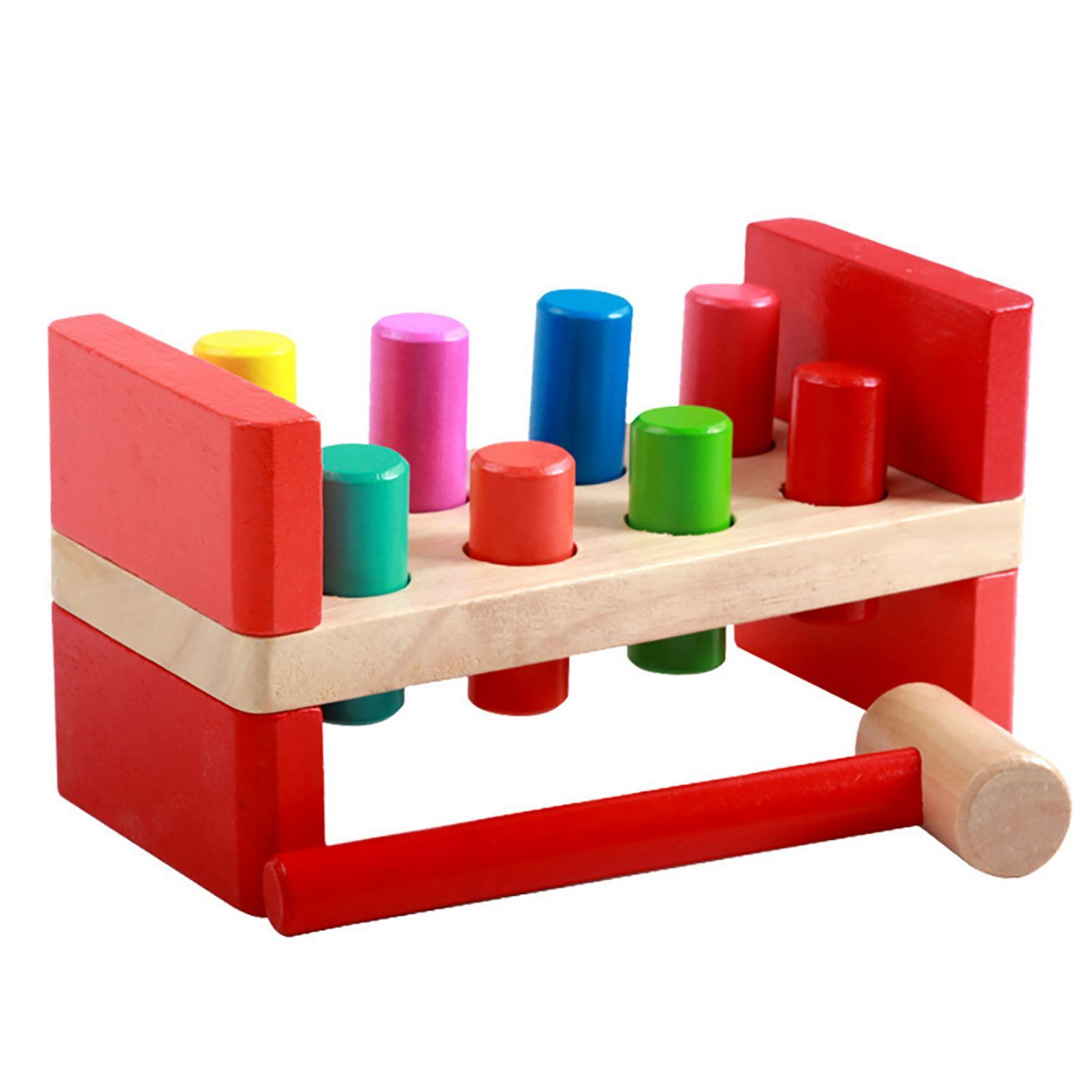Baby Peg Toys : Childrens wood pound a pegs bench hammer baby toddler peg
