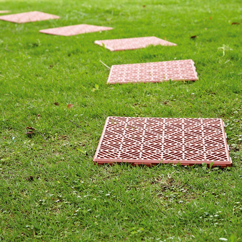 4 x interlocking plastic garden path tiles lawn paving walkway patio terracotta ebay - Interlocking deck tiles on grass ...