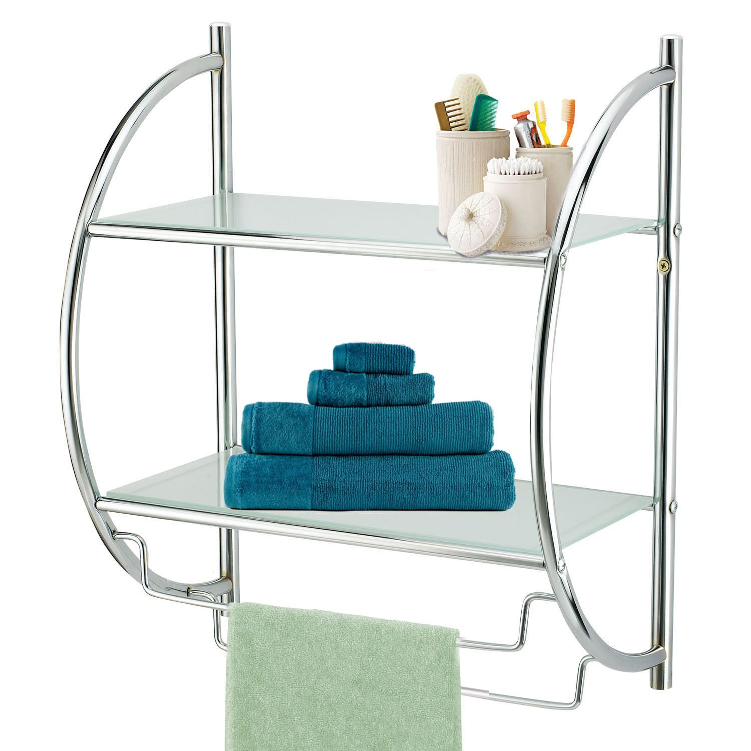 MODERN CHROME QUALITY BATHROOM SHELF TOWEL STAND RACK RAILS | eBay
