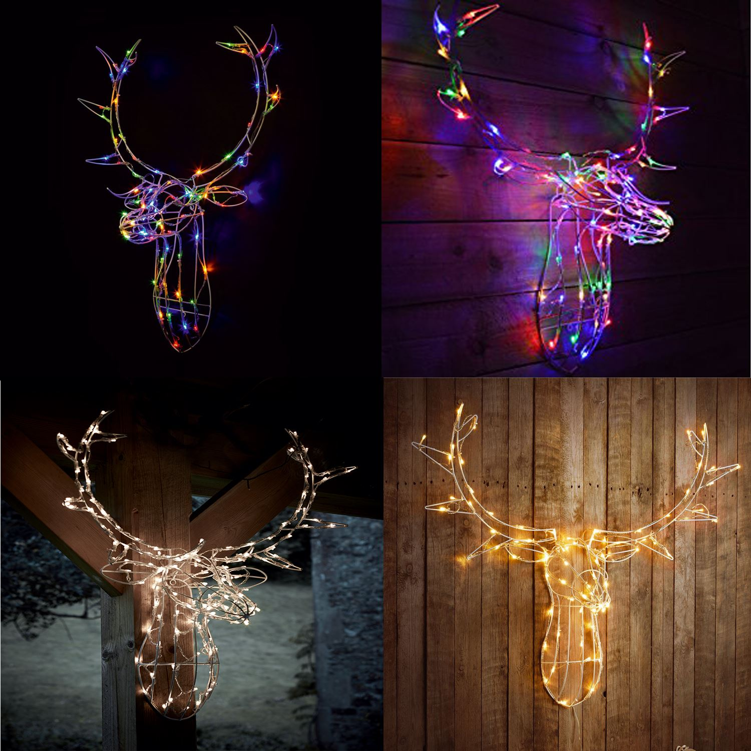 Details about Reindeer Stag Head 80 LED Light Up Warm WhiteMulti Colour Xmas Wall Decoration