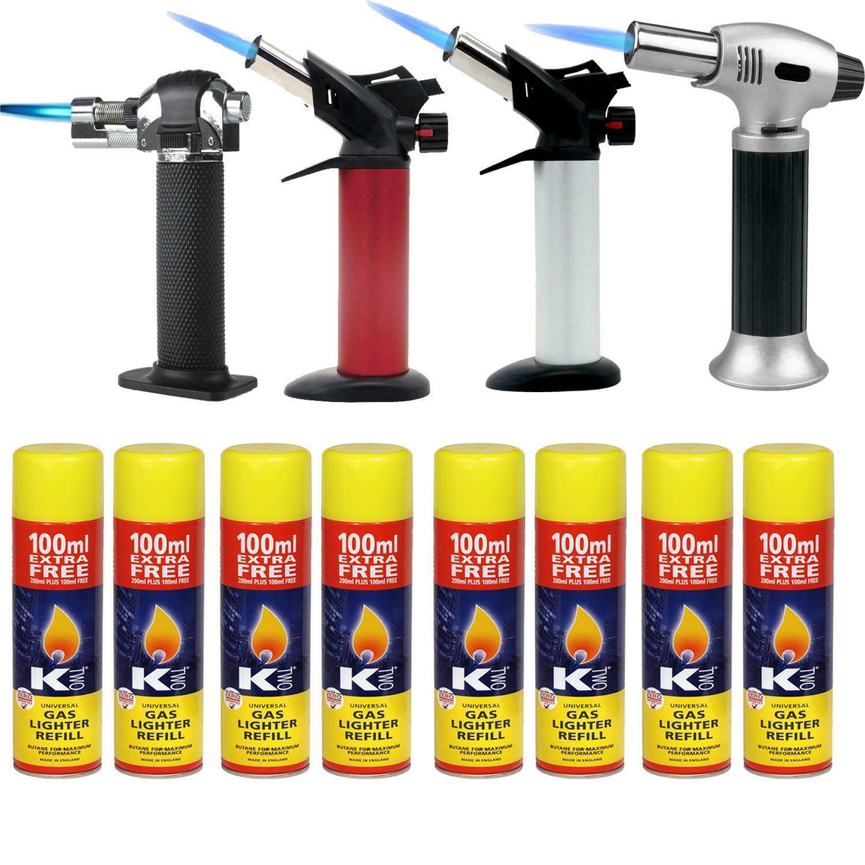 Kitchen Refillable Flamethrower Burner Butane Gas Flame Torch Safety Lock Silver