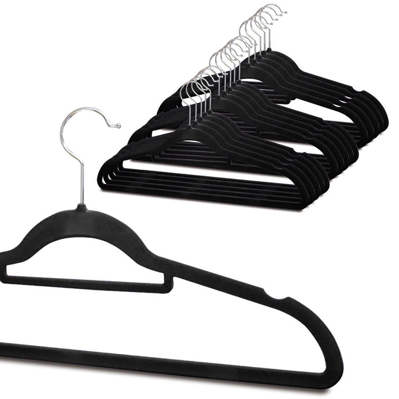 Non-Slip-Space-Saving-Velvet-Flocked-Coat-Clothes-Trousers-Hangers-Organisers thumbnail 8