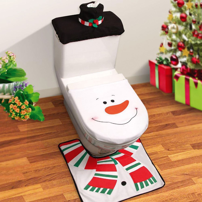 3pc Christmas Xmas Festive Decorations Santa Toilet Seat