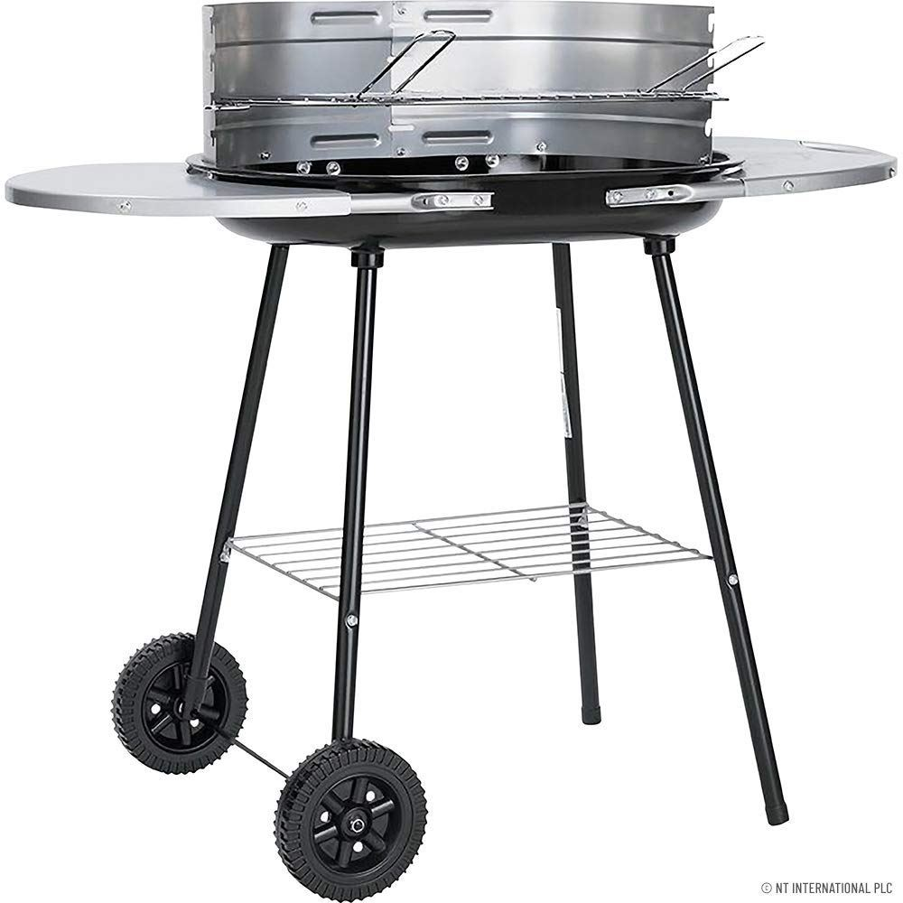 Large Oval Steel Trolley Garden BBQ Charcoal Grill