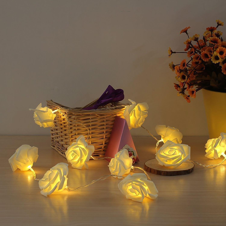 Pink White Leds Rose Flower String Lights Living
