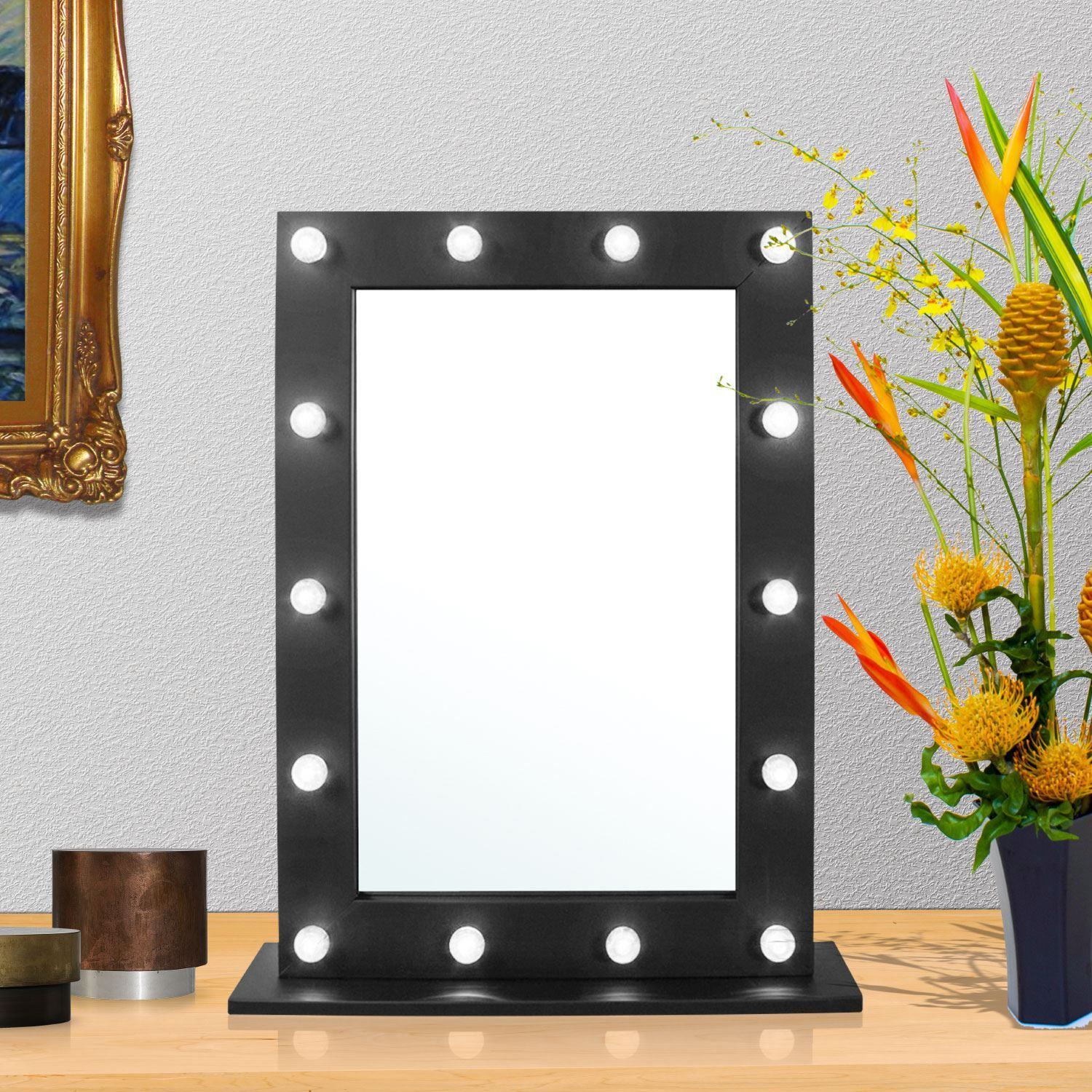 Light up dressing table hollywood led mirror bulbs make up vanity mirror black