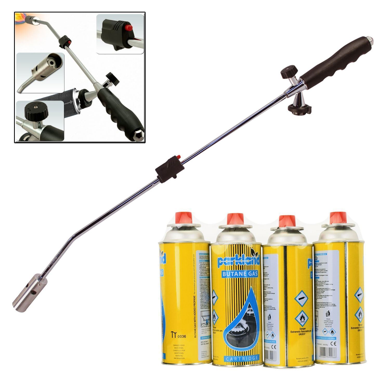 Weed wand butane gas canisters blowtorch garden torch for Petrol wand
