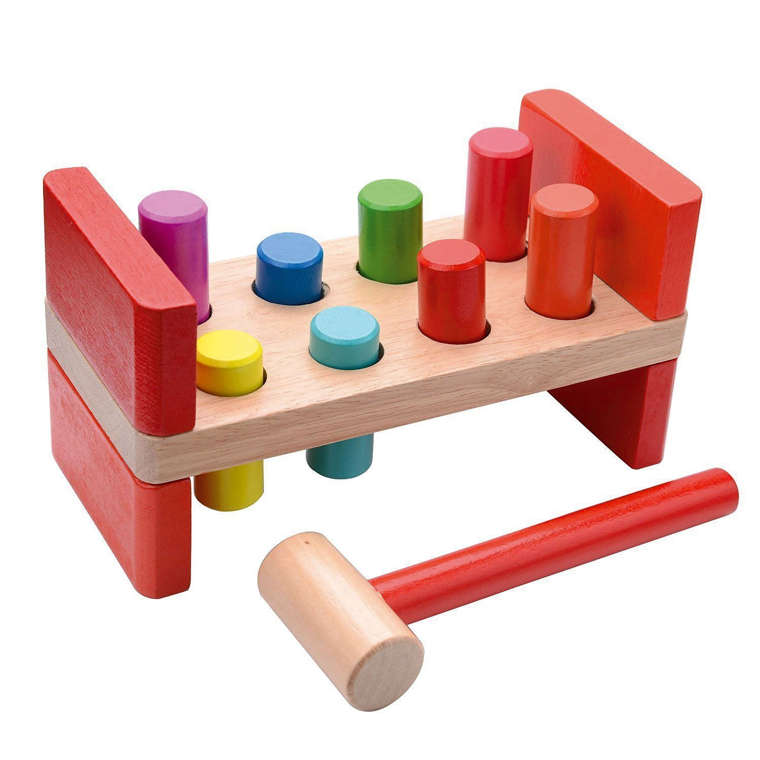 Hammer Game Toy : Childrens wood pound a pegs bench hammer baby toddler peg