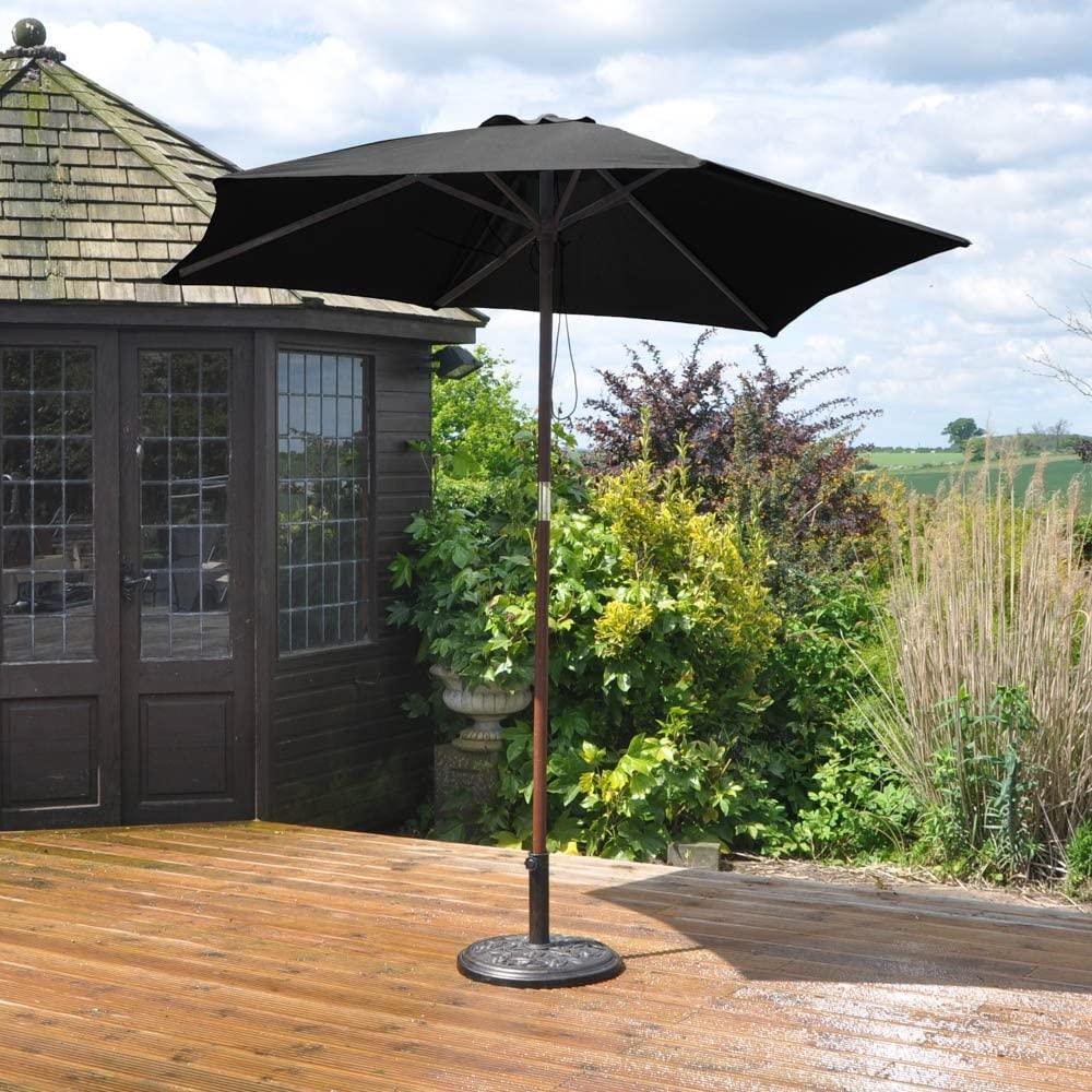 2.4M Garden Patio Parasol Umbrella Large Wooden Garden ...