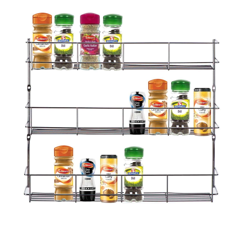 3 Tier Spice Herb Curry Jar Rack Holder Cupboard Organiser Storage Kitchen Tool