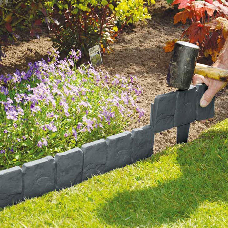 10 Pack Lawn Edging Cobbled Stone Effect Plastic Garden Edging Hammer In  Grey