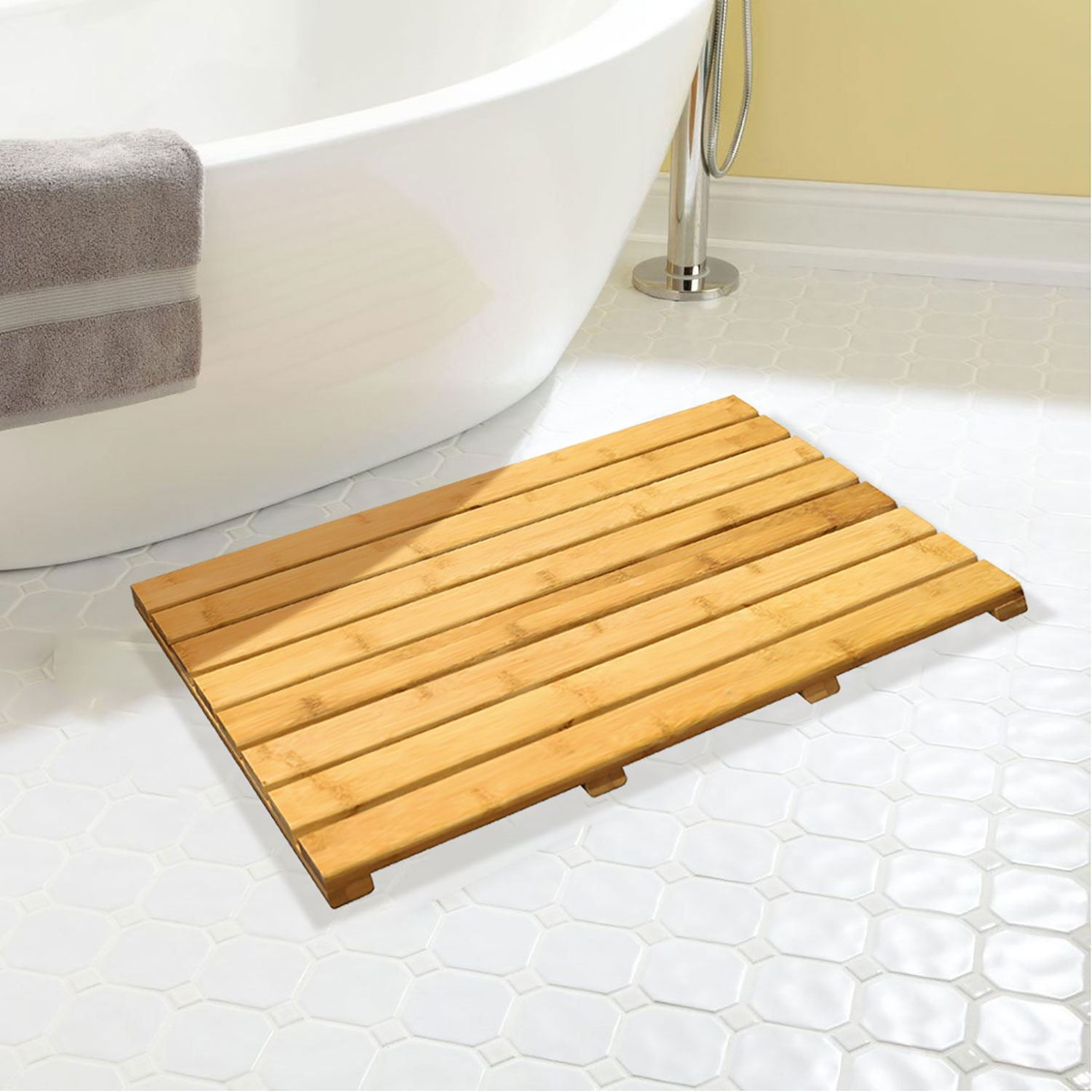 Non Slip Bamboo Wooden Slatted Rectangular Duck Board Bath Mat Shower Bathroom 5054667100868 Ebay