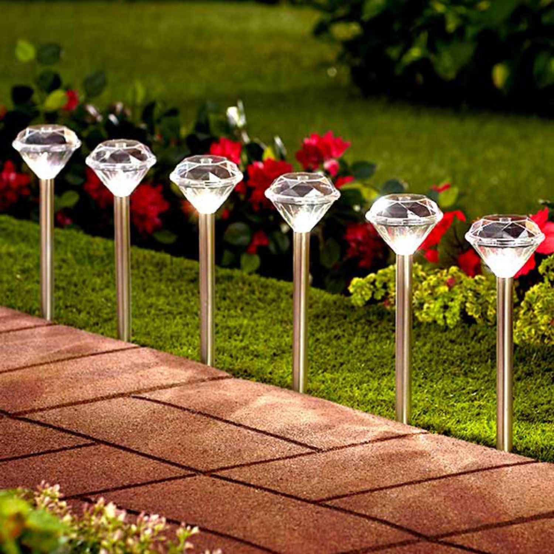 Outdoor Solar Garden Lights Uk: 10 X Stainless Steel White LED Solar Diamond Stake Lights