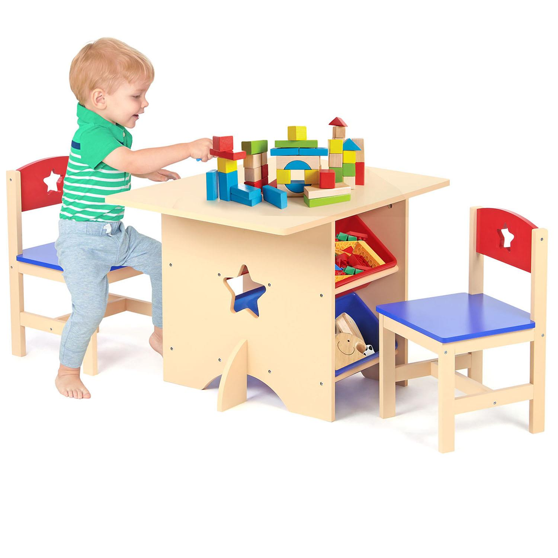 Children S Scuola Materna Stella In Legno Gioco Tavolo E 2 Sedie Set Con 4 Scatole Portaoggetti Ebay
