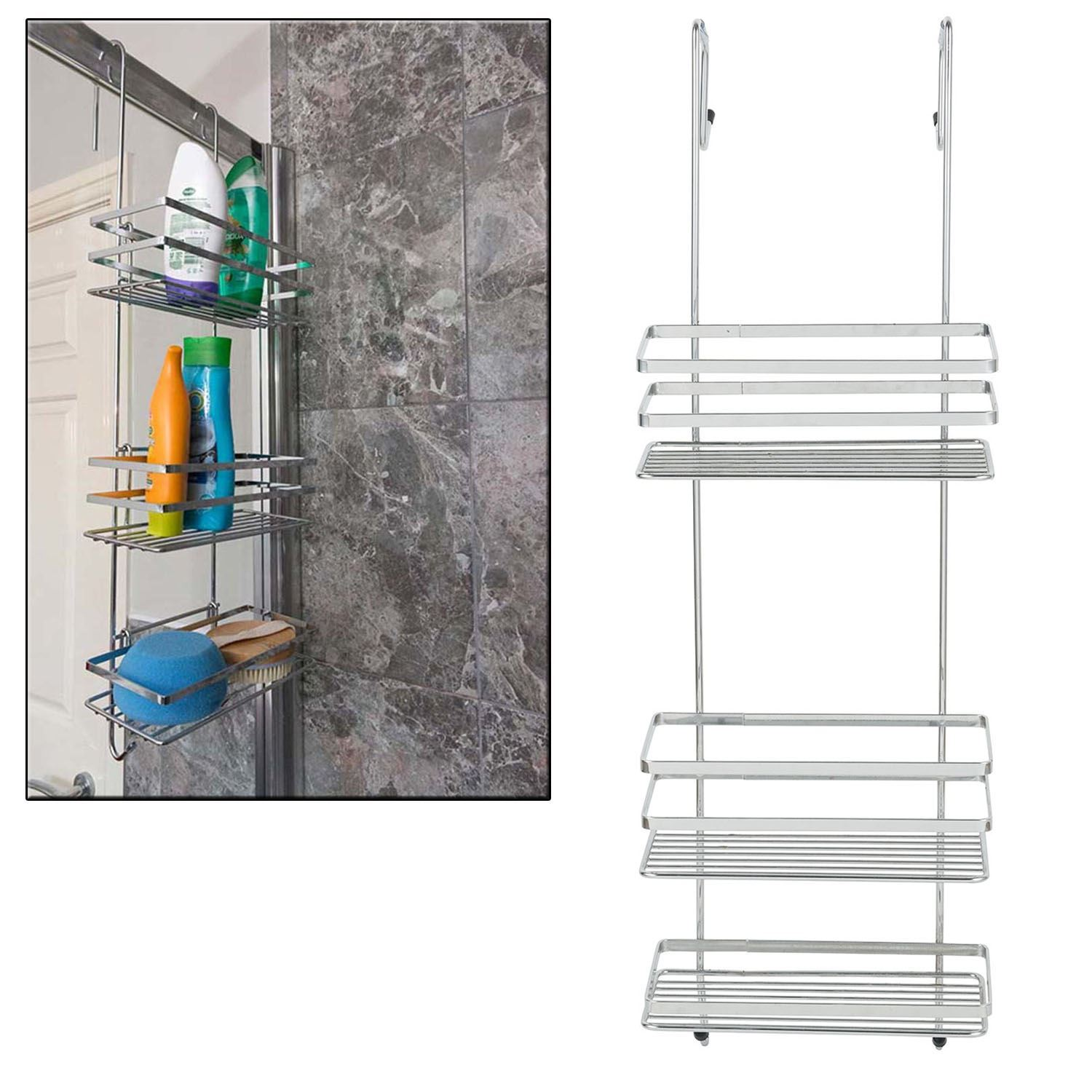 3 Tier Large Chrome Over Shower Door Screen Caddy Hanging Storage ...