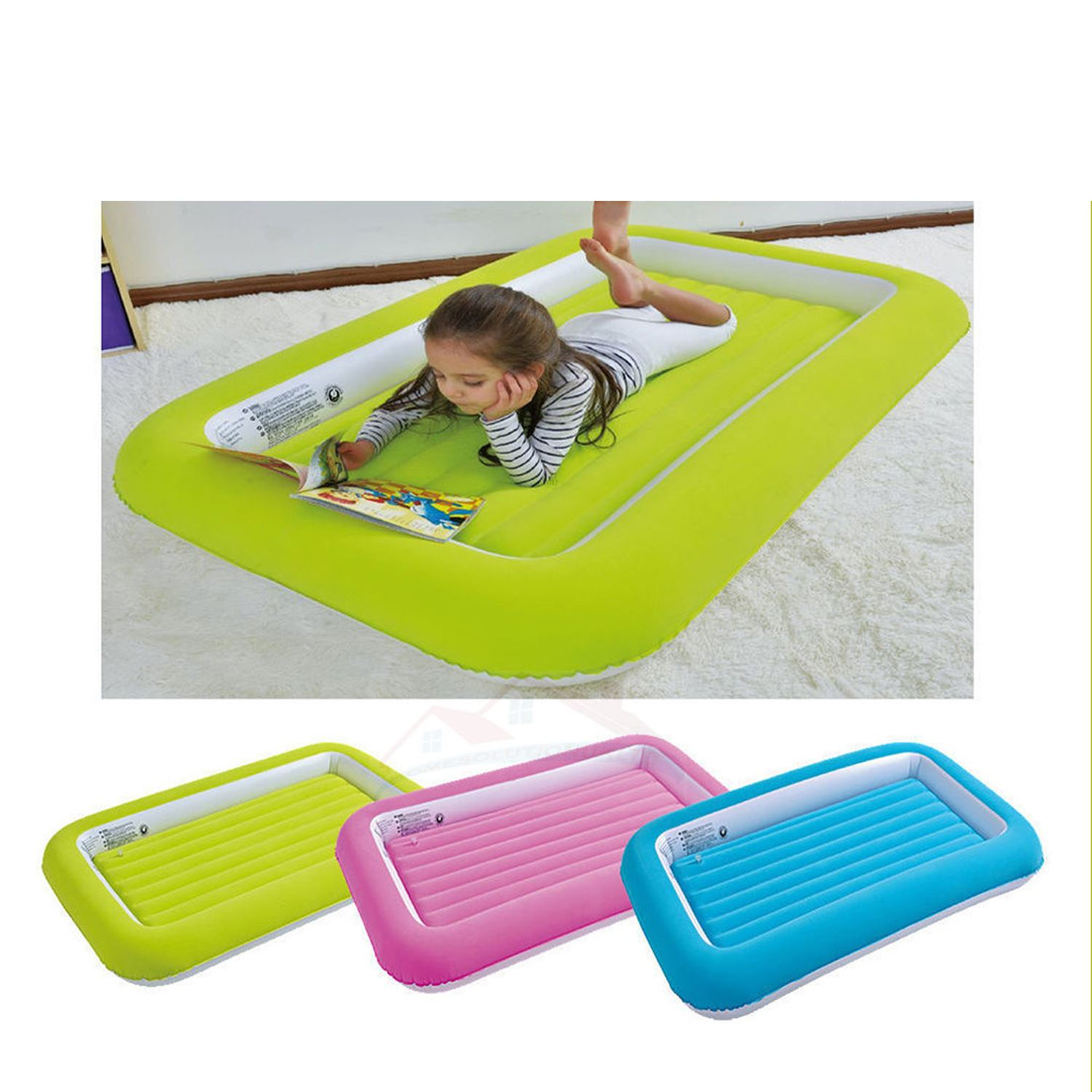 Flocked Kids Junior Children Safety Inflatable Air Bed Mattress Camping Guests