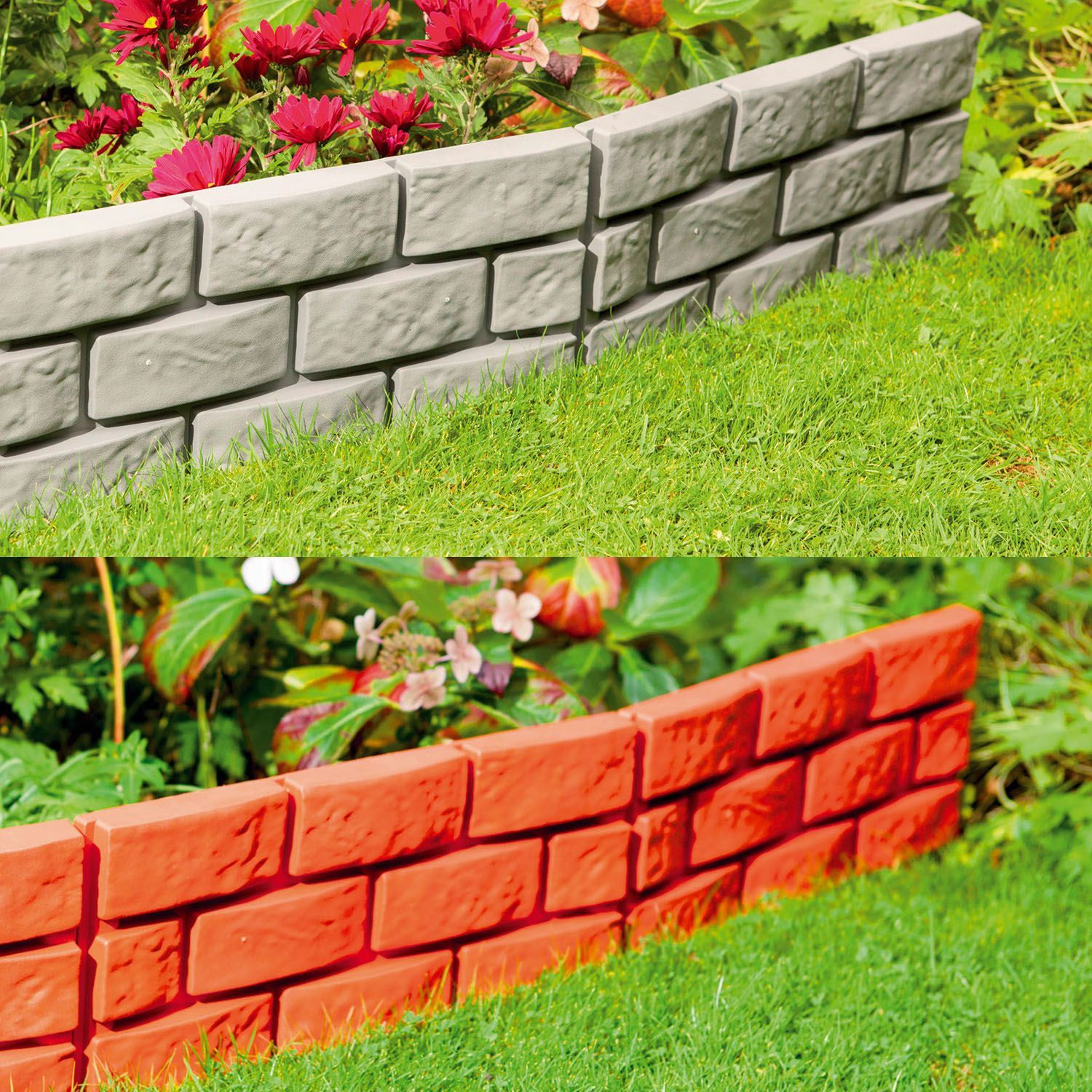 instant brick effect hammer in plastic garden lawn edging