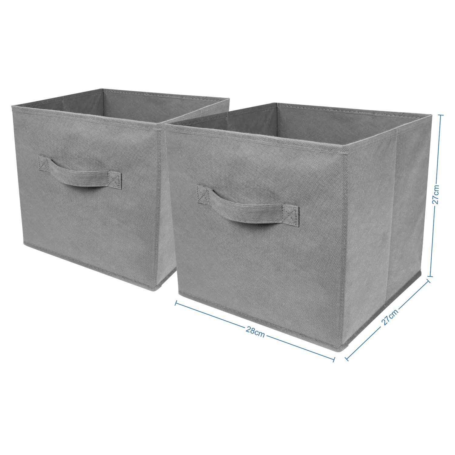 2 pack foldable large square storage box collapsible fabric cubes kids home grey. Black Bedroom Furniture Sets. Home Design Ideas