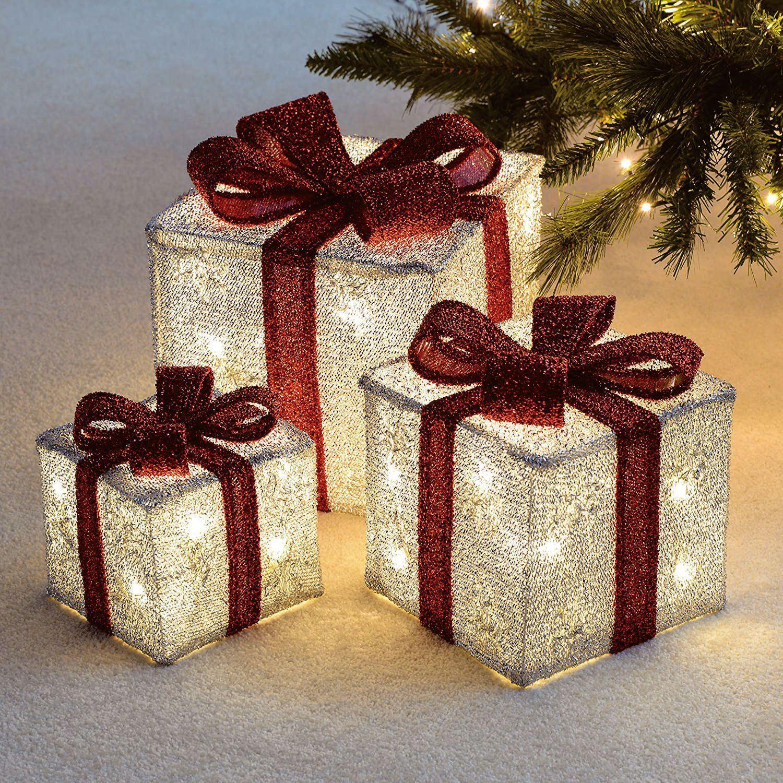Christmas Gift Box Set With Bow Decoration Lights 3 X Light Up Festive Xmas Ebay