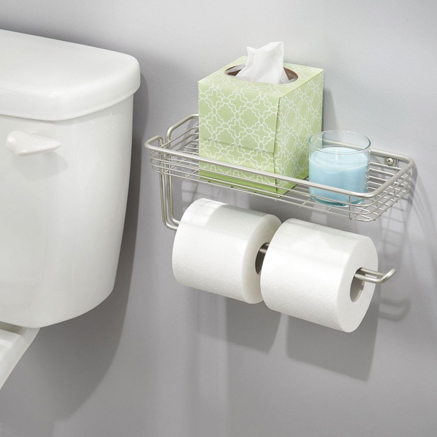 Wall mounted double toilet paper roll holder bathroom organiser with shelf new for Small bathroom toilet paper holder