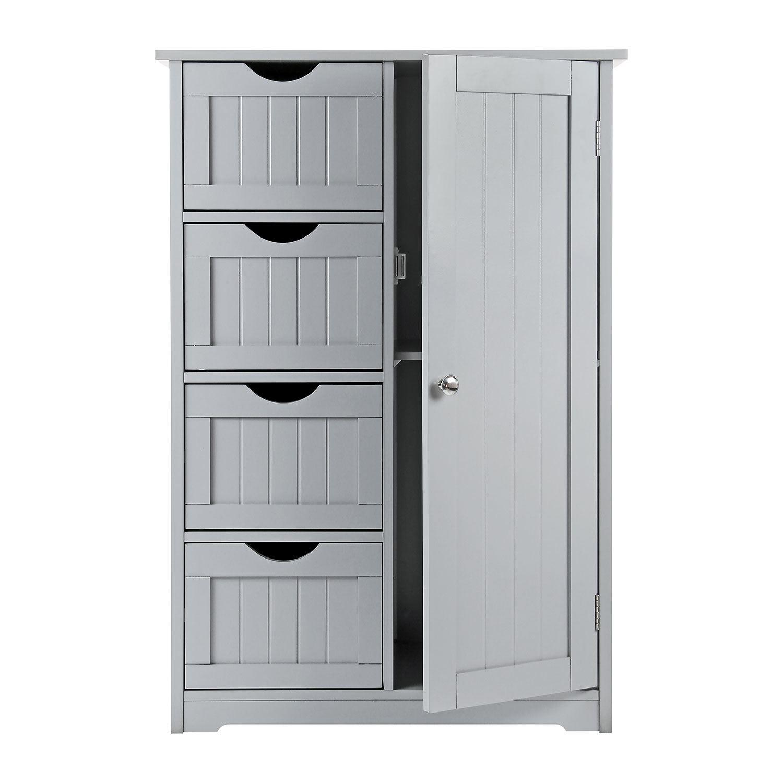 Grey Wooden Bathroom Cabinet Shelf Cupboard Bedroom