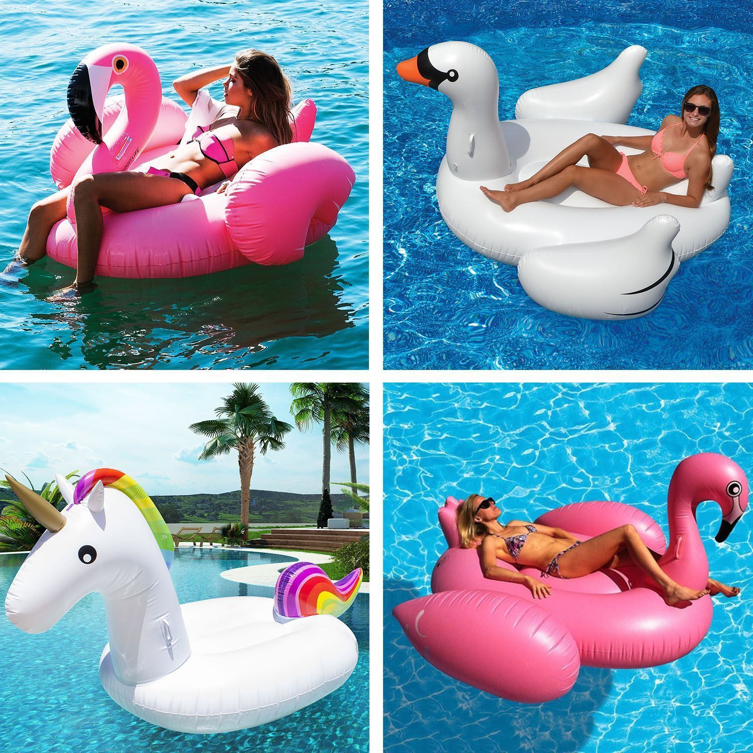Inflatable Giant Single Double Flamingo Swan Pool Float Raft