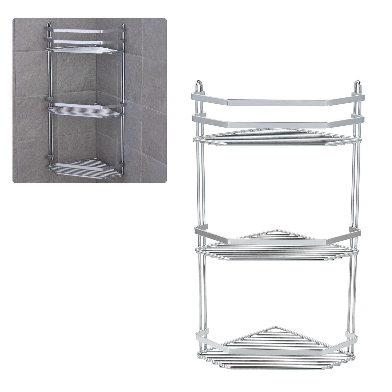 Details About Chrome 3 Tier Corner Shower Rack Caddy Bathroom Shelf Organizer Unit Tidy Basket