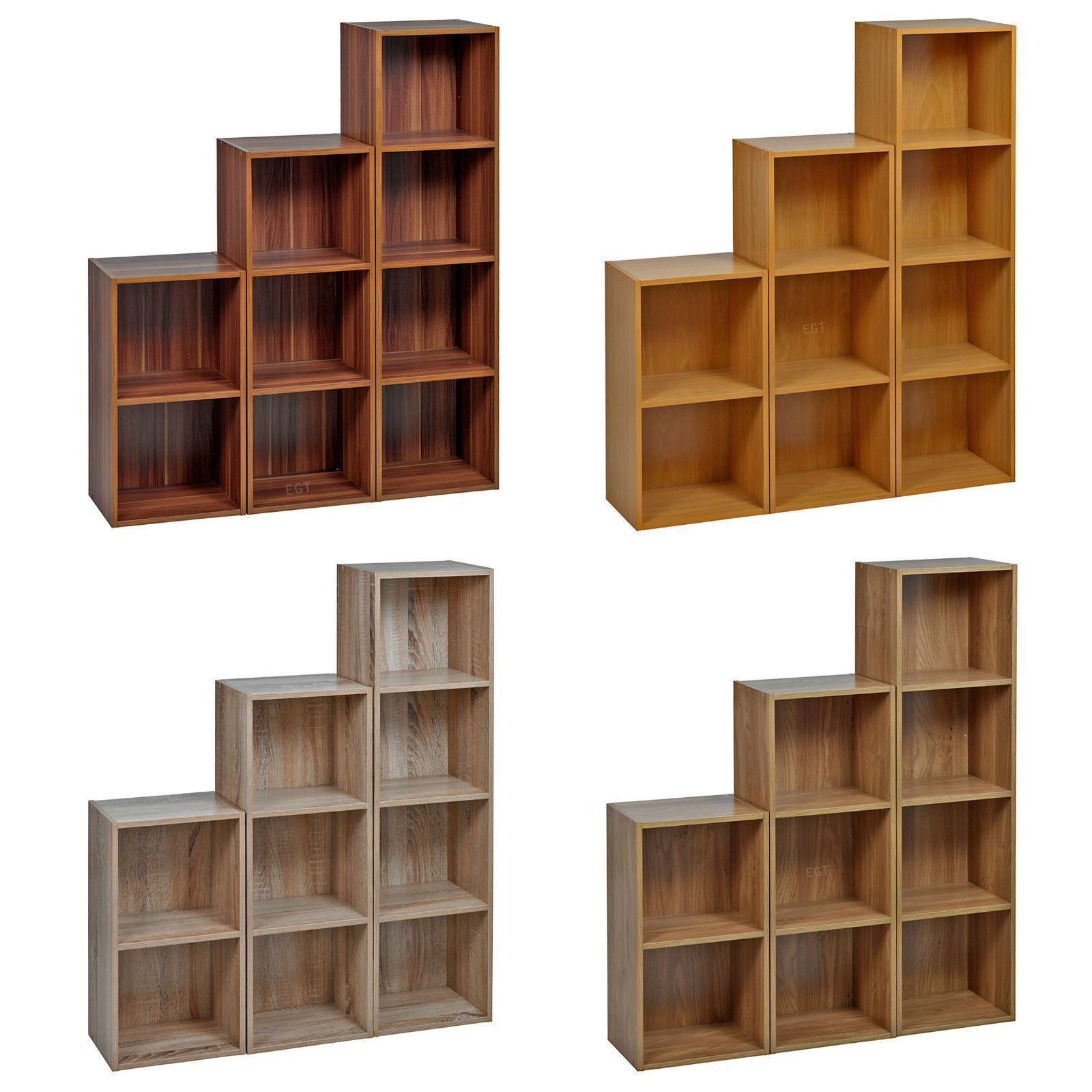 Details About 2 4 Tier Wooden Bookcase Shelving Bookshelf Storage Furniture Cube Display Unit