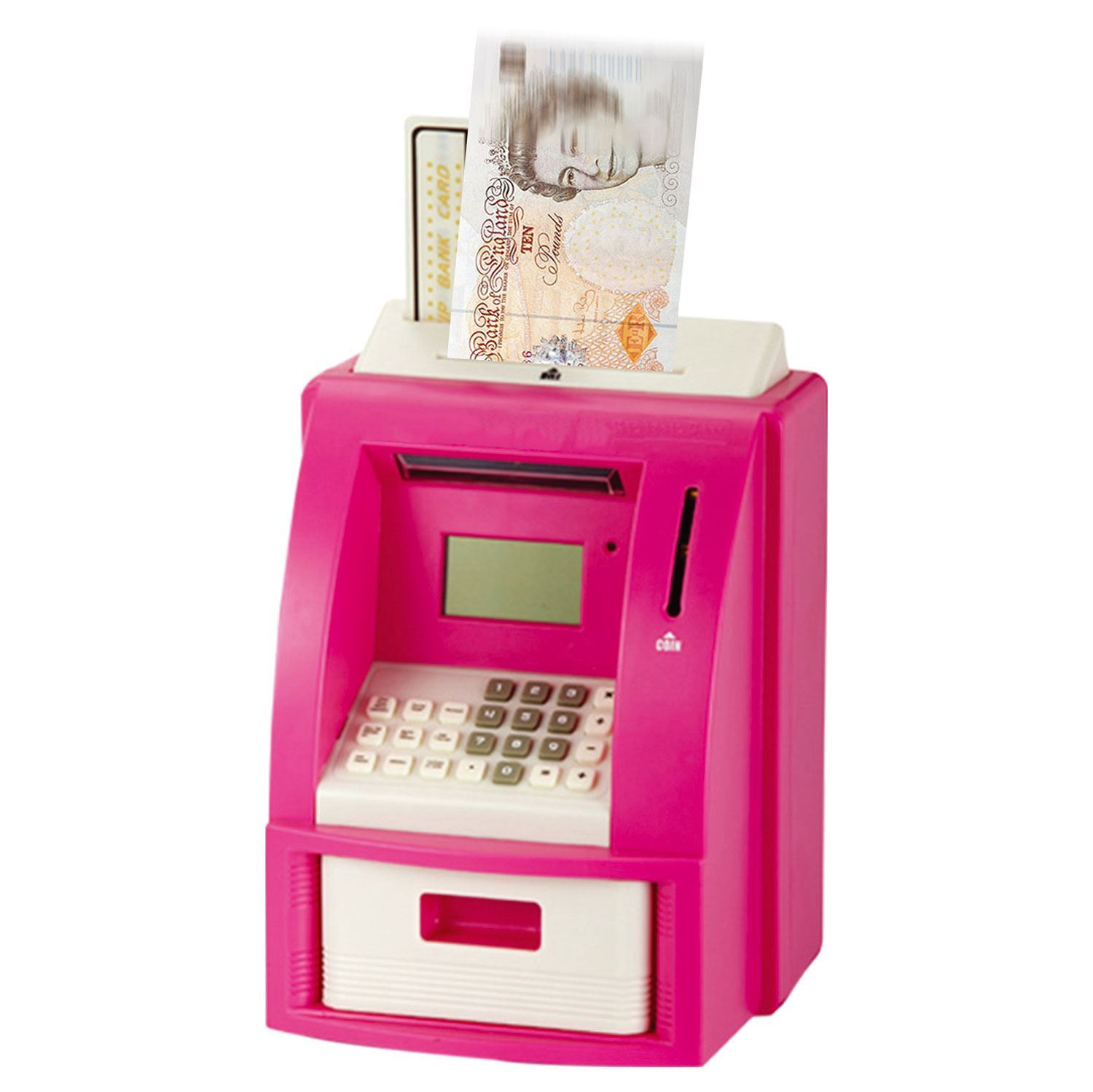 digital piggy bank atm machine card money note coin saving. Black Bedroom Furniture Sets. Home Design Ideas