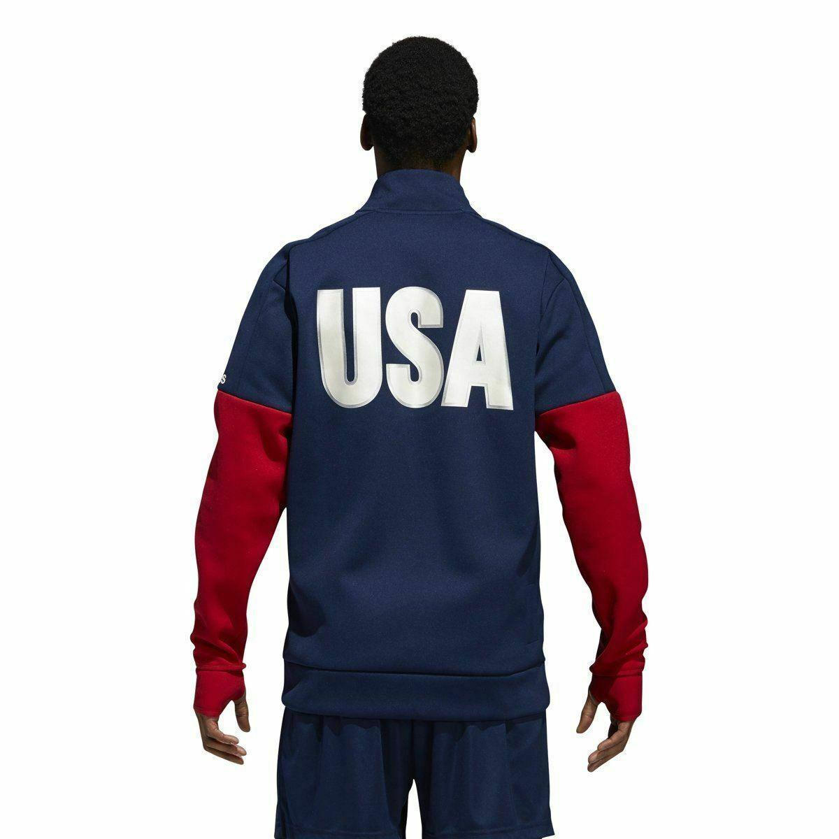 adidas-USA-VB-Mens-Jacket-Zip-Up-Warm-Up-Track-Top-RRP-45-Sale-Price-All-Sizes thumbnail 4