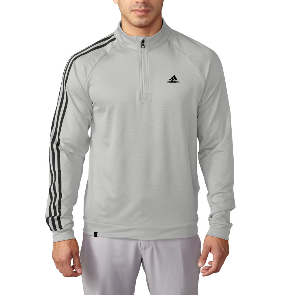 sale adidas golf 3 stripes sleeve 1 4 zip pullover training mens golf sweater ebay. Black Bedroom Furniture Sets. Home Design Ideas
