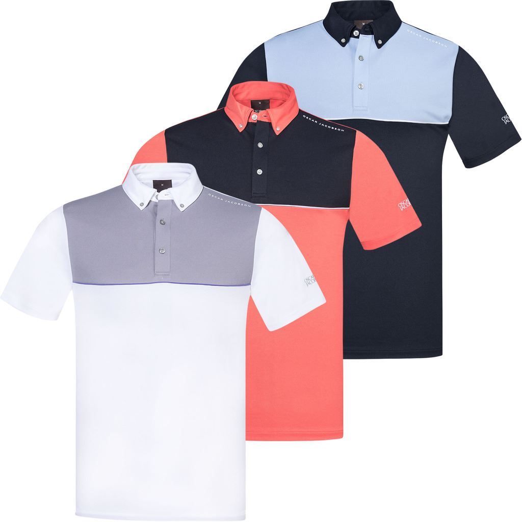 SALE !!! Oscar Jacobson Mens Denver Course Short Sleeve Golf Polo Shirt