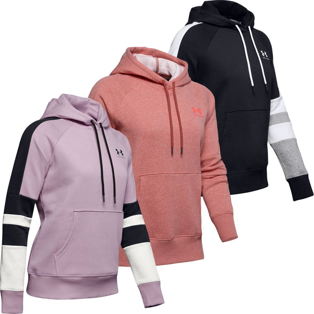 Details about Under Armour Ladies UA Hoodie Rival Fleece LC Logo Novelty Womens Hoody