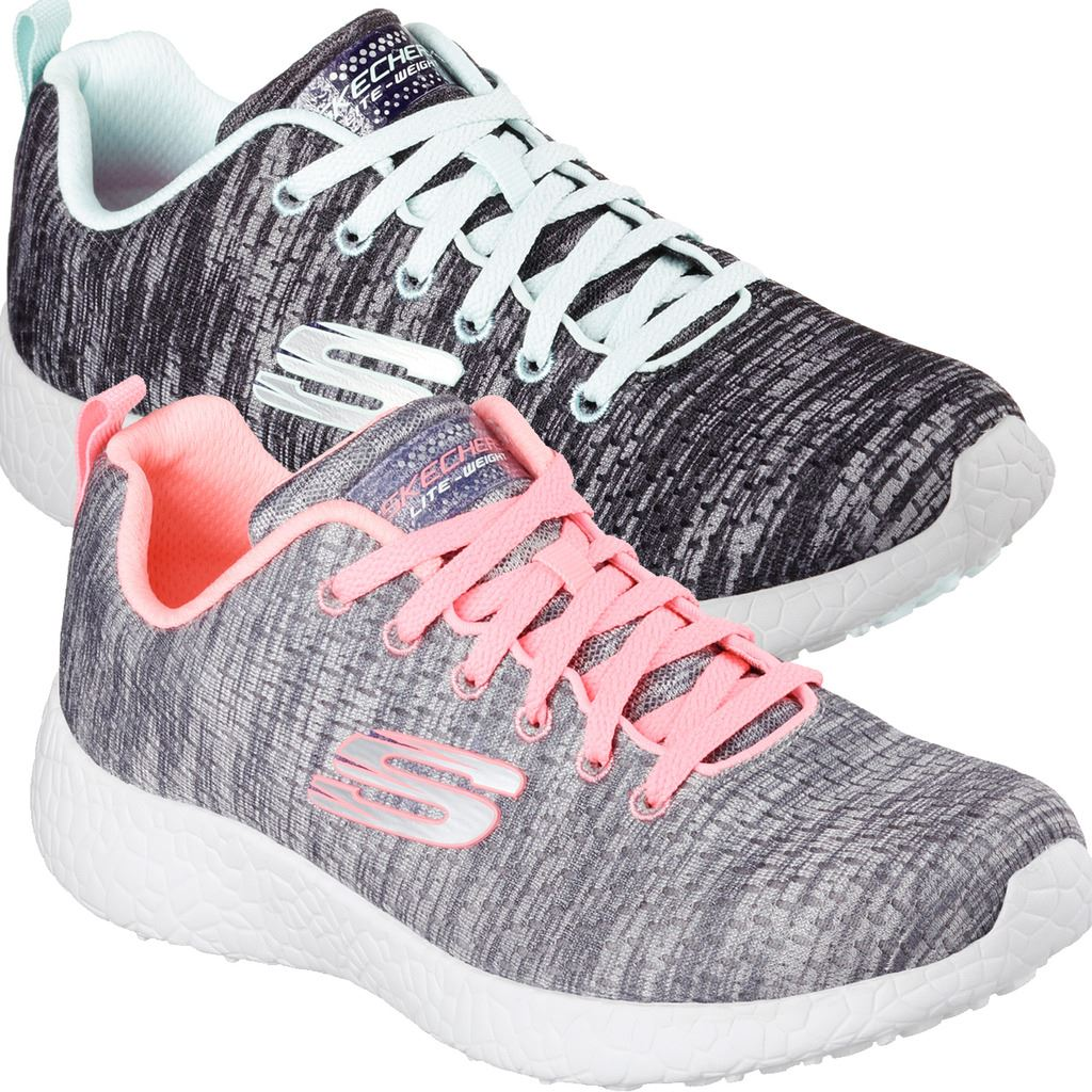 Skechers Lightweight air cooled memory foam walking shoes.