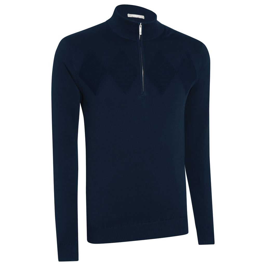 Ashworth-Chest-Diamond-Texture-1-4-Zip-Thermal-Lined-Wind-Sweater-Golf-Pullover thumbnail 5