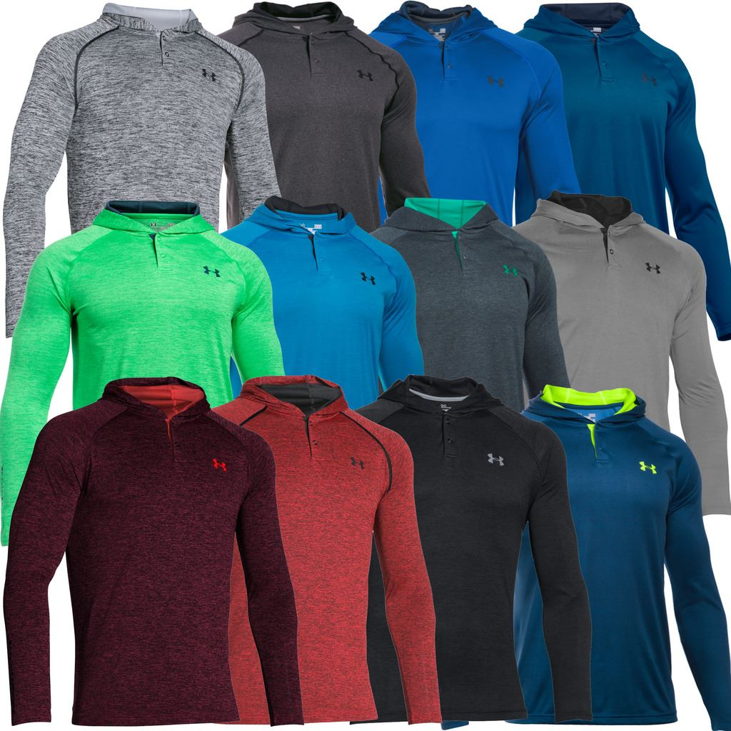 2afc3aa55d7b Details about Under Armour UA Tech Popover Henley Training Shirt Hoody Mens  Sports Hoodie
