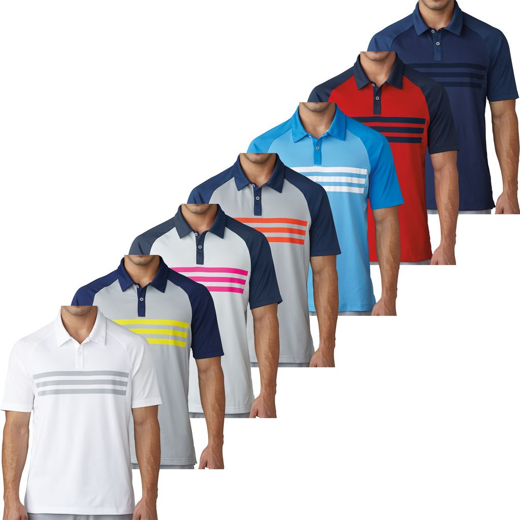 more photos 482bf 3e289 Details about adidas CLIMACOOL® 3-STRIPES COMPETITION MENS GOLF POLO SHIRT