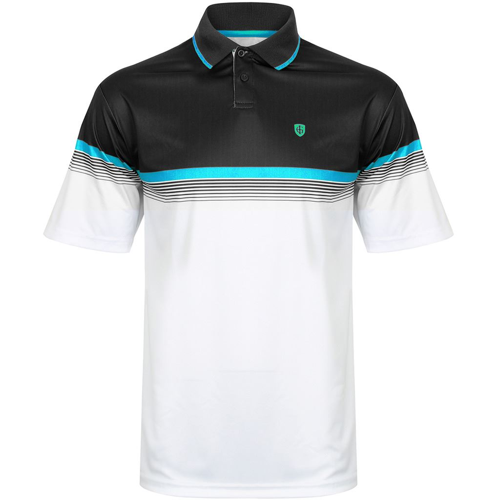 Island Green Chest Stripe Lc And Ls Performance Mens Golf Polo Shirt